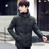 羽绒服男短款学生带帽韩版青少年修身款鸭绒袄男冬季保暖外套潮 军绿色 M