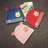 婴儿帽子0-3-6-个月秋冬宝宝毛线帽男女套头帽针织纯棉新生儿童