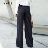 Amii[极简主义]撞色织带休闲长裤女冬装2017新款宽松阔腿裤子