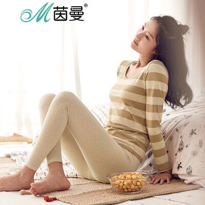 INMAN/茵曼彩棉莱卡条纹保暖套装家居服套装睡衣女秋 9873486381莱卡条纹保暖套装女