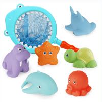 婴儿洗澡戏水玩具捏捏叫变色喷水鲨鱼网捞洗澡套装宝宝