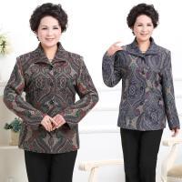 秋冬季中老年女装薄款上衣大码宽松妈妈装秋装印花外套40-50-60岁
