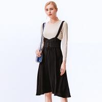 春装新款套装时尚 纯色打底衫系带收腰吊带裙两件套