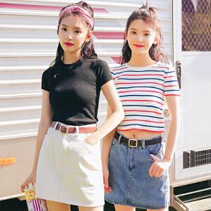 2018新款夏季套装视频牛仔短裙包臀A字裙短袖百搭针织t恤条纹毛衣T恤