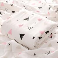 婴儿浴巾夏季薄款宝宝纱布被子两层2棉竹纤维新生儿童盖毯盖被J 4层竹棉 110*110 几何图案