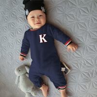 女婴儿连体衣服0岁3个月男宝宝新生儿春秋1套装6外出服春装外出服