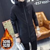 男士风衣中长款冬季学生韩版连帽大衣加棉加厚大码青年男款外套潮 3