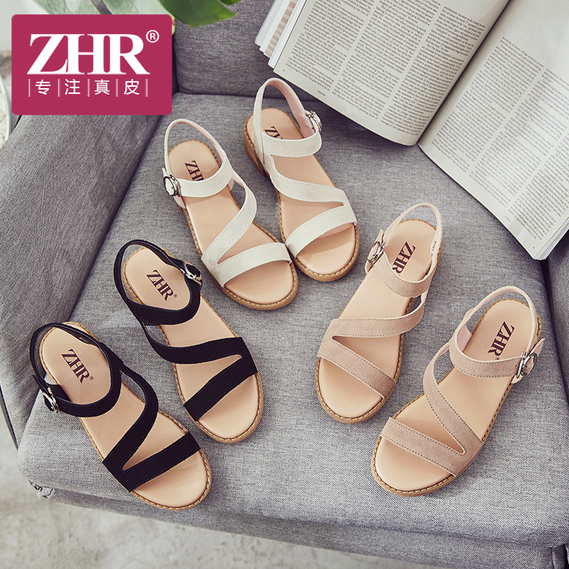 ZHR凉鞋女粗跟韩版舒适真皮中跟罗马鞋时尚复古露趾一字扣带鞋2018夏新品