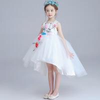 儿童礼服裙女童公主裙礼服蓬蓬裙拖尾女孩仙主持人宴会演出 白色