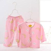 儿童睡衣宝宝棉绸套装中大男女童小孩长袖薄款棉绸空调家居服