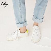 Lily2018春新款女装荧光色撞色小白鞋系带运动鞋118100JZ808