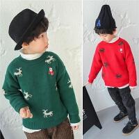 儿童毛衣男童2017冬季新款韩版套头加绒加厚圆领打底冬装圣诞节