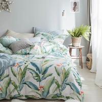 床上用品四件套棉田园大叶子棉床品4件套