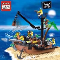 儿童玩具海盗系列306积木小颗粒拼装玩具拼插模型6-10岁
