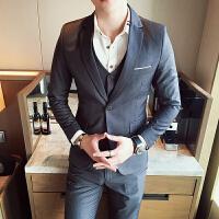 男士西服三件套装韩版西装修身伴郎礼服休闲外套小西装帅气格子潮