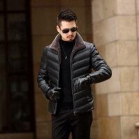 冬季新款羽绒服男士短款修身外套中年爸爸装带毛领加厚羽绒服