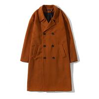 毛呢大衣男中长款青年冬季韩版双面呢羊毛妮子落肩风衣情侣外套潮
