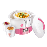 Tonze/天际 GSD-W122B电炖锅白陶瓷家用煲汤一锅三胆智能隔水炖盅 粉红色