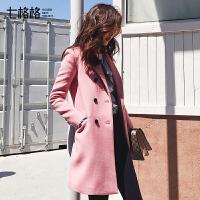 毛呢大衣女中长2017秋冬装新款韩国韩版学生小个子西装呢子外套潮