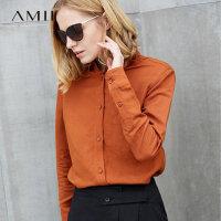 Amii极简韩版通勤百搭亚麻衬衫2018春装新款职业休闲显瘦长袖上衣.