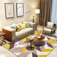 北欧客厅地毯沙发茶几垫子简约现代卧室床边地垫满铺可爱房间家用T 05号 黄色几何