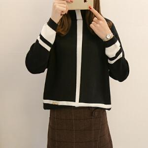 2018新款韩版堆堆领撞色显瘦毛衣女短款百搭打底蝙蝠袖针织衫外套