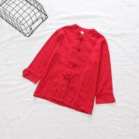 春秋款男女童复古唐装上衣 儿童盘扣纯色长袖汉服衬衫179697