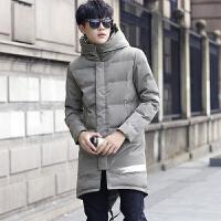 日系连帽棉衣男士外套修身中长款加厚保暖秋冬季原宿燕尾大衣