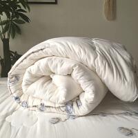家纺2017秋冬新款棉被子纱布棉花被长绒棉被芯加厚保暖被子单双人床上用品 白色 棉花被 200x230 冬被6斤