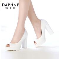 达芙妮女鞋 春季时尚粗跟鱼嘴鞋防水台女浅口单鞋高跟鞋