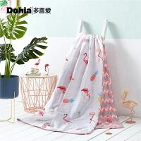 多喜爱家纺全棉空调被可水洗夏凉被粉红弗洛拉夏薄被