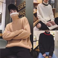 冬季高领男生毛衣韩版潮流个性厚款针织衫套头加绒加厚外套毛线衣