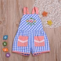 夏季童装女童格子吊带绣花贴袋连体裤