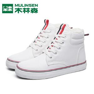 木林森女鞋冬季加绒棉鞋小白鞋板鞋女学生韩版百搭平底高帮雪地靴