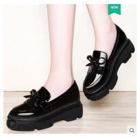 古奇天伦小皮鞋女英伦风一脚蹬女鞋子内增高RH08900