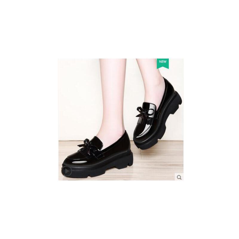 古奇天伦小皮鞋女英伦风一脚蹬女鞋子内增高RH08900 品质保证 售后无忧