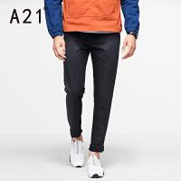 以纯A21男士黑色小脚裤弹力修身冬季 简约纯色休闲裤时尚舒适长裤男潮