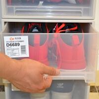 鞋盒抽屉式防尘透明塑料加厚自由组合男女球鞋子收纳盒多层 D 透明 6个装