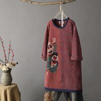 A1中长款套头韩版宽松 条纹卡通毛衣女装春秋季新针织衫毛衣裙0.6