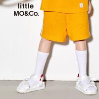 littlemoco夏季新品男童裤子侧边条纹拼接透气休闲风运动短裤