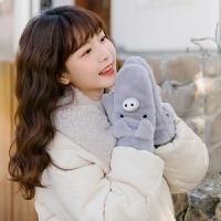 可爱卡通猪 软妹冬季保暖学生韩版毛绒手套骑车防寒挂脖ins少女心