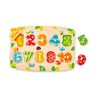 Hape四阶―数字启蒙小抓手拼图 积木拼插 儿童玩具 拼图拼板 E1404