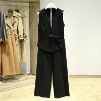 春装新款套装时尚 V领蝴蝶结无袖上衣纯色休闲裤两件套