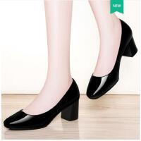 古奇天伦新款韩版春季单鞋高跟鞋女鞋粗跟春鞋百搭黑色中跟职业工作鞋HY08841