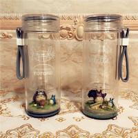 创意双层微景观可爱玻璃水杯学生杯子带盖生日礼物