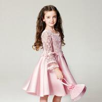 儿童礼服长袖连衣裙 女童公主裙 蓬蓬裙 蕾丝 粉色