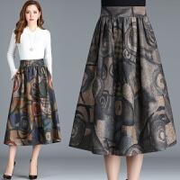 秋冬装新款中老年人女装半身裙子时尚印花中长裙妈妈装高腰毛呢裙