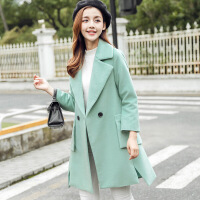 2017秋冬韩版女装毛呢外套时尚修身中长款呢子大衣