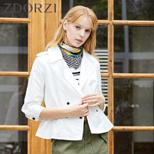 zdorzi卓多姿纯色双排扣松紧长袖短外套女634242