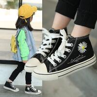 男童帆布鞋百搭平底时尚中大女童高帮布鞋